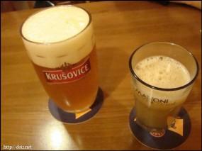 チェコのビールとジュース