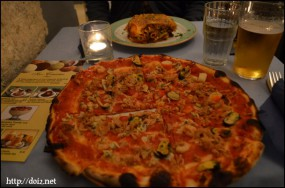 シーフードピザとラザニア
