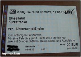 Kurzstrecke(短区間)、DB券売機で購入